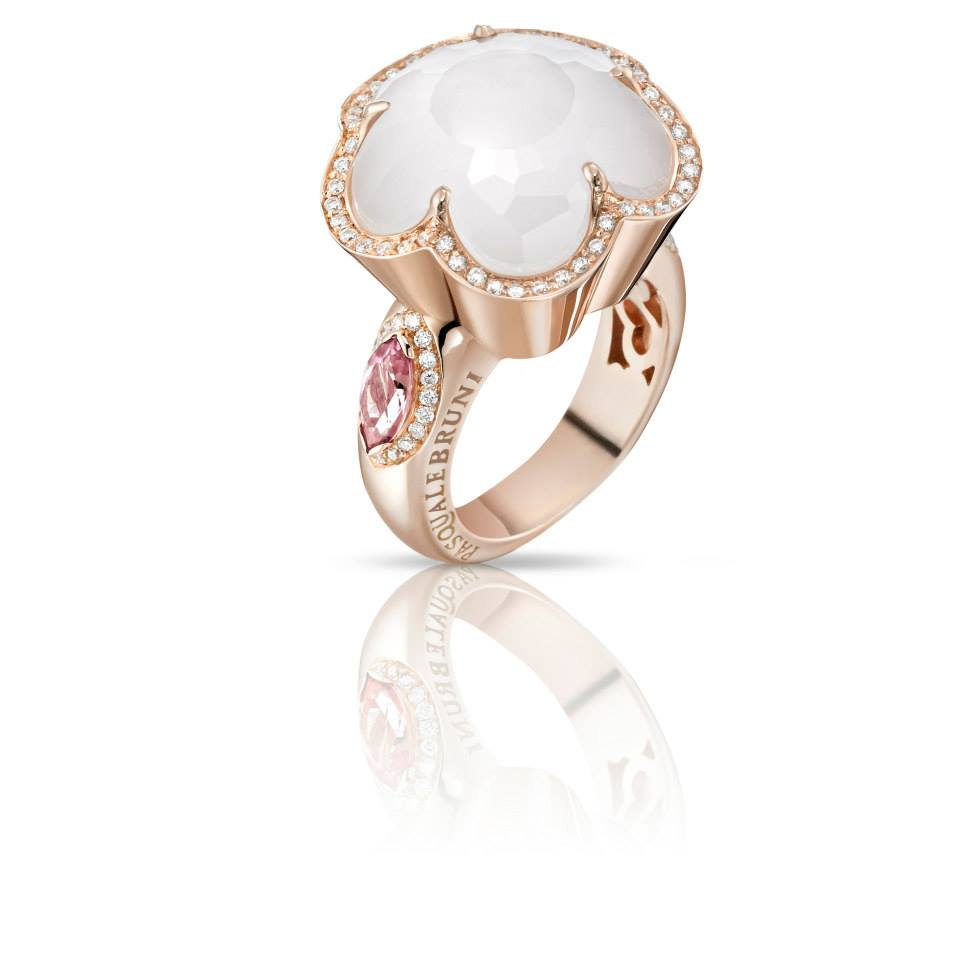 Pasquale Bruni Ring Bon Ton collection in rose gold with milky quartz, mother of pearl, pink topaz and diamond 14859R