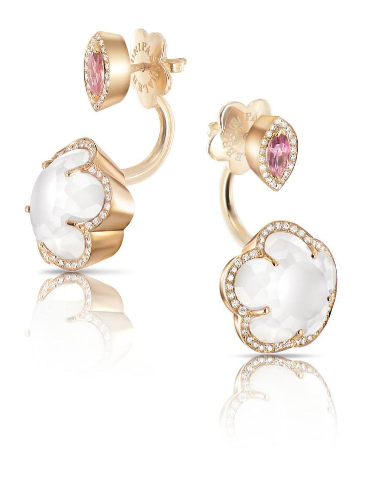 Pasquale Bruni Ring Earring Bon Ton collection in rose gold with milky quartz, mother of pearl, pink topaz and diamond 14930R