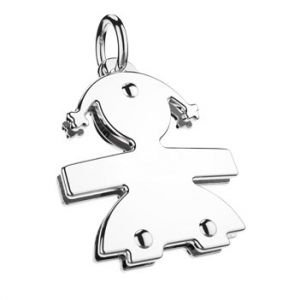 Le Bebé Pendant Female Mini collection in white gold with a gold spacer and a cord LBB048 (on request)