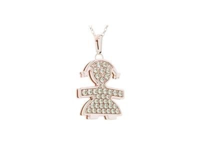 Le Bebé Pendant Female Pavè Piccoli collection in pink gold with pavé set brilliants paired up with a small gold chain LBB 020