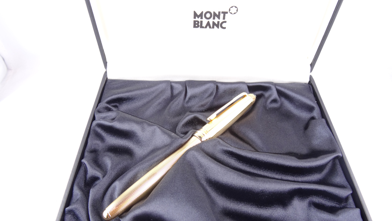 Montblanc Fountain Pen Meisterstuck Solitaire Gold plated stainless steel laser engraved II Limited Edition 1443 MB