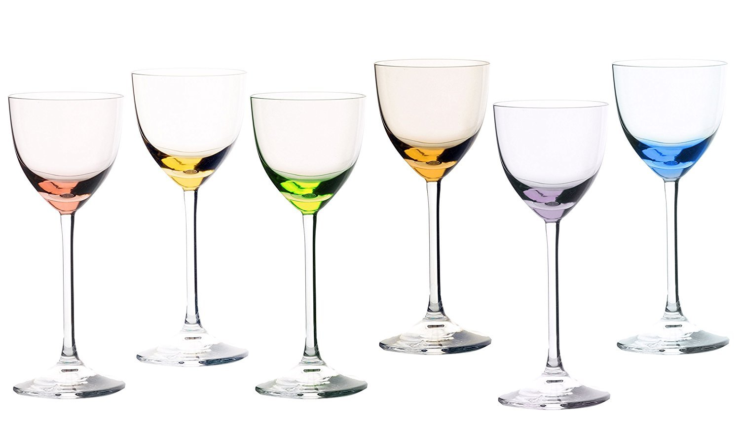 Series of Wine Glasses Assorted Colors Crystal Sevrès