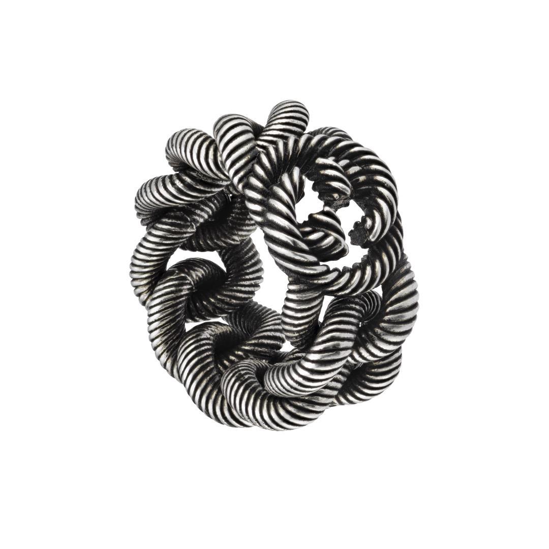 Anello in argento Gucci Interlocking G Gourmette YBC599740001016